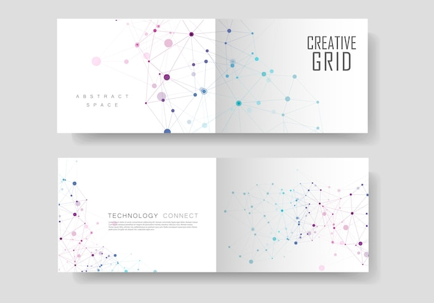 Connect lines and dots cover brochure Premium Vector