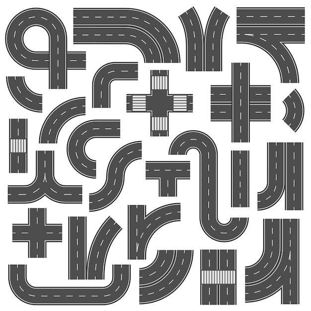 Подсоединяемые дорожные элементы Premium векторы