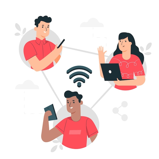 Connected concept illustration Free Vector