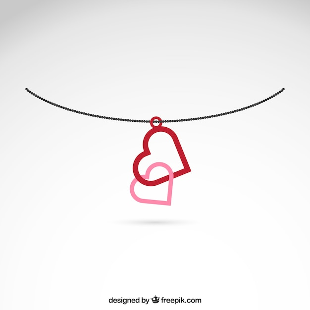 Connected hearts necklace Free Vector