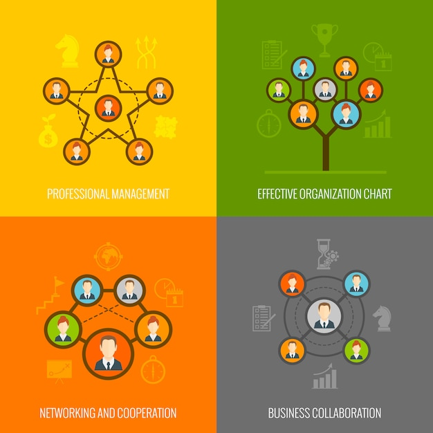 Connected people flat elements composition set Free Vector