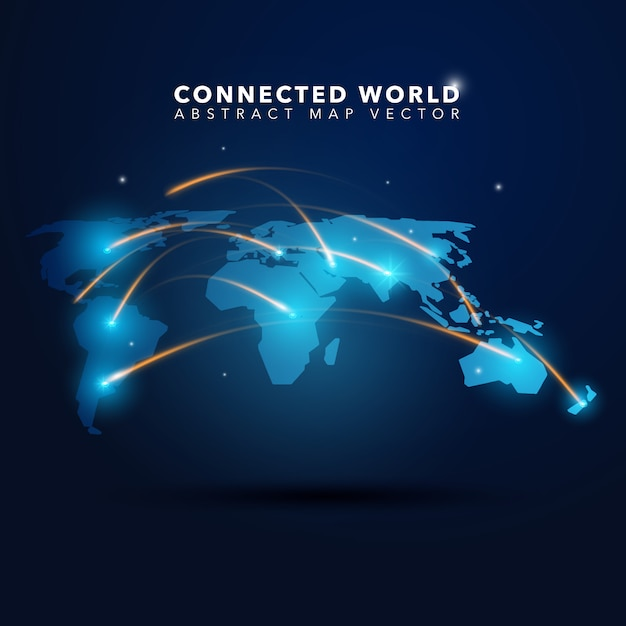 Connected world background Free Vector