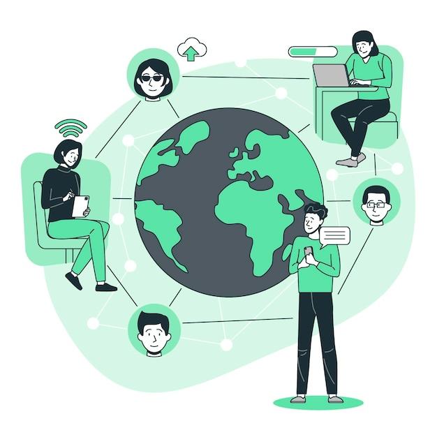 接続された世界の概念図 無料ベクター