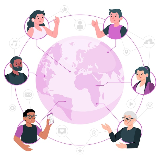 Connected worldconcept illustration Free Vector