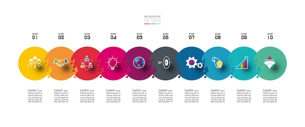 Connecting circle   steps can use for planning. Premium Vector