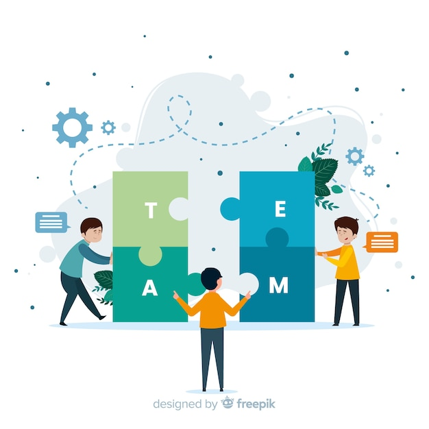 Connecting teams concept for landing page Free Vector