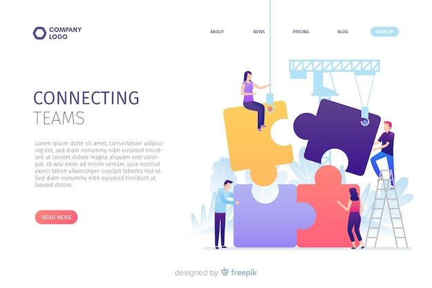 Connecting teams landing page concept Free Vector