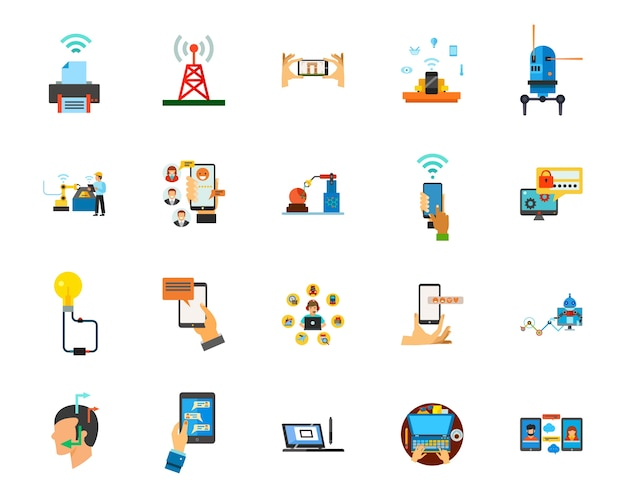 Connection icon set Free Vector