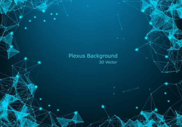 Connection science background. modern polygonal technology with lines and dots. Premium Vector
