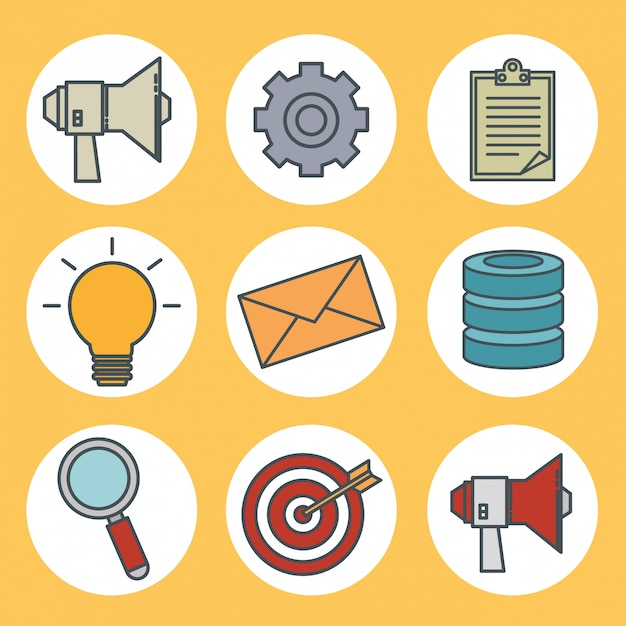 Connectivity 5g technology icons Free Vector