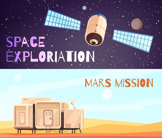 Conquest of space banners set Free Vector