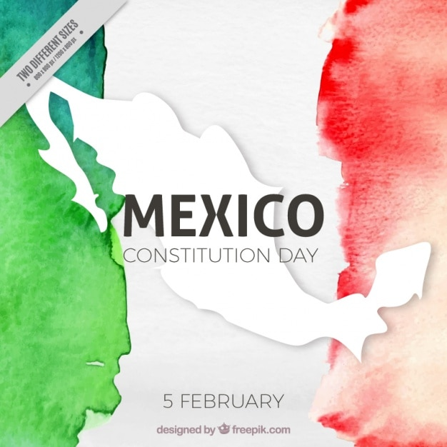 Consitution day background with watercolor mexico flag Free Vector