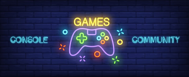 Console community neon style banner. gamepad on brick background. Free Vector