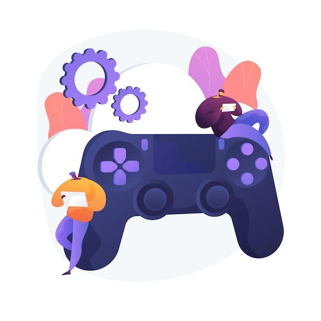콘솔 게임 패드. 하이테크 기술. 라이브 게임 서비스, 비디오 게임 컨트롤러, 버튼이있는 조이스틱. 게이머를위한 조이패드. 주변 입력 장치. 벡터 격리 된 개념은 유 그림입니다. 무료 벡터