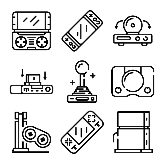 Console icons set, outline style Premium Vector