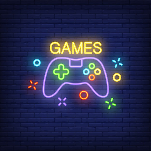 Console with games lettering. neon sign on brick background. Free Vector