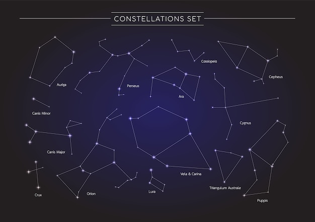 Constellation in cosmos background Premium Vector