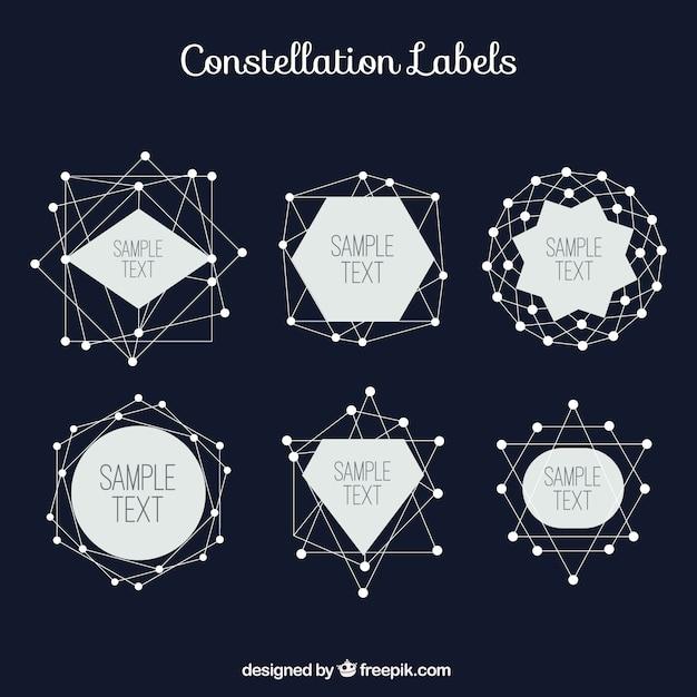 Созвездие наклеек в геометрическом стиле Бесплатные векторы