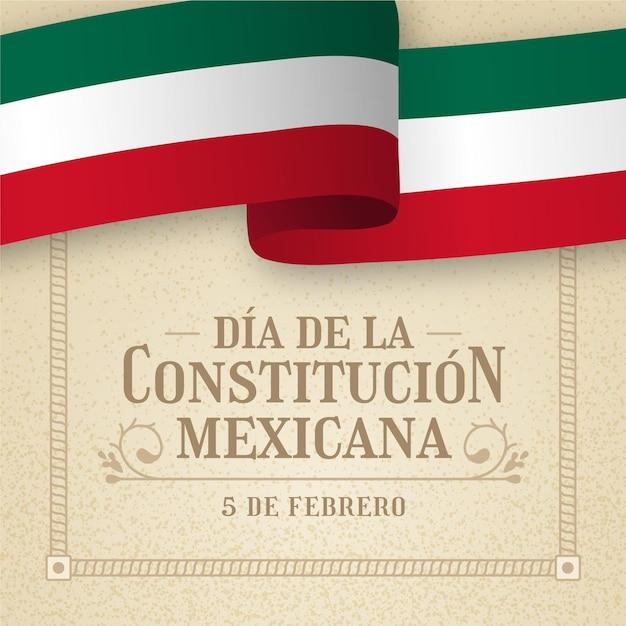 Fondo di giorno della costituzione con la bandiera messicana Vettore gratuito