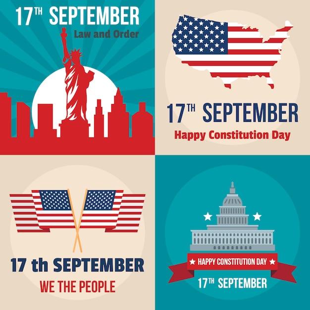 Constitution day usa president patriotic america flag banner Premium Vector