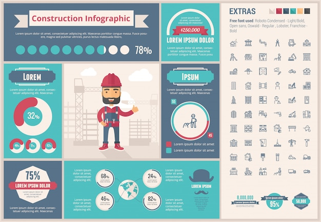 Constraction flat design infographic template and icons set Premium Vector