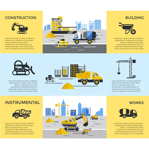 Construcction banners collection Free Vector