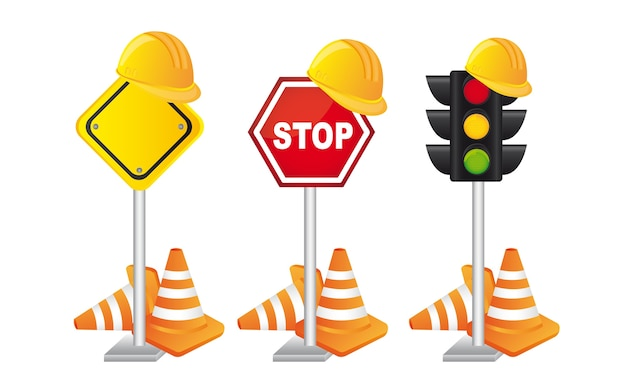 Construciton signs with helmet over white background vector Premium Vector