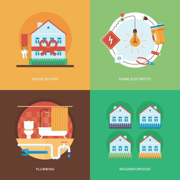 Constructing, industry of building and development set for web  and mobile apps. illustration for house buying, home electricity, plumbing and neighborhood. Premium Vector