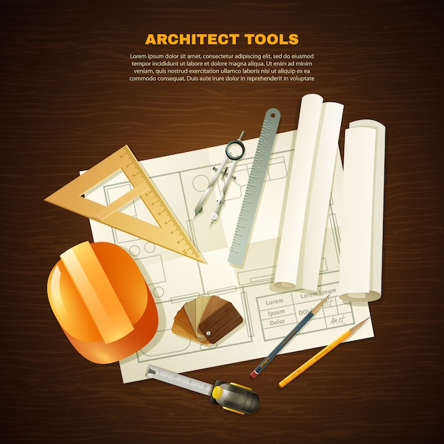 Construction architect tools background Free Vector