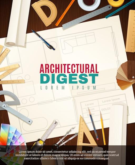 Construction architect tools illustration Free Vector