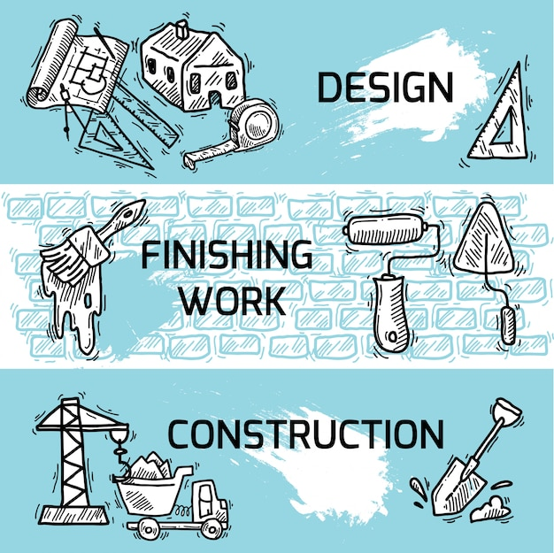 Construction banner set Free Vector