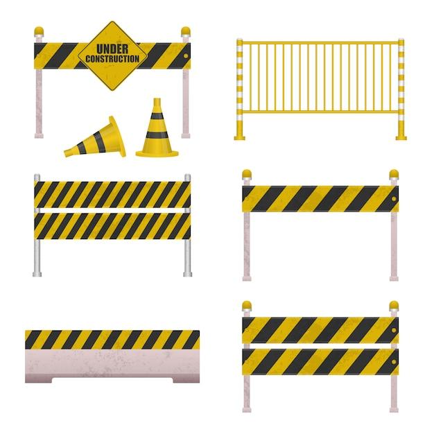 Under construction barrier Premium Vector
