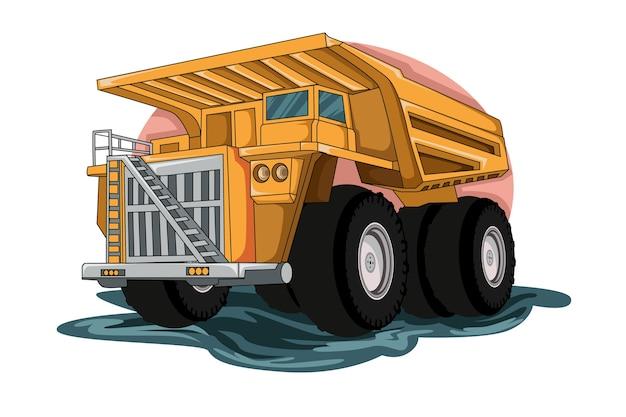 建設大型トラックイラストベクトル Premiumベクター