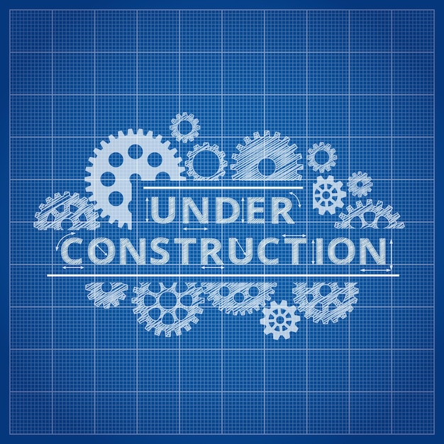 Under construction blueprint background Free Vector