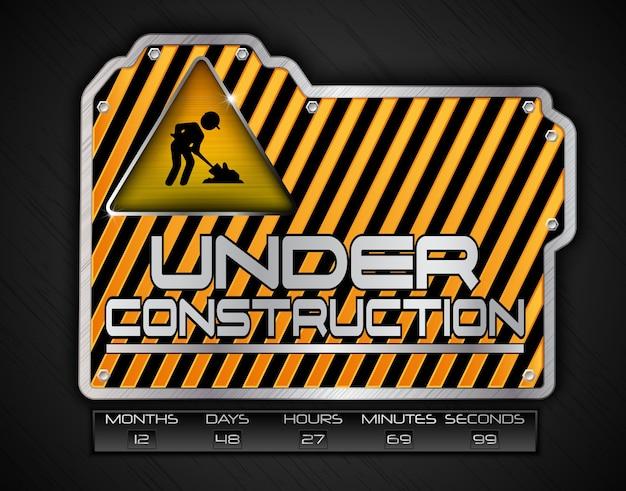 Under construction board with work in progress sign Premium Vector