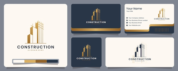 Construction , builder , building ,gold color ,banner and business card , logo design inspiration Premium Vector