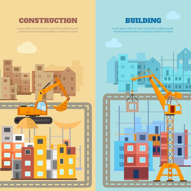 Construction and building banner set Free Vector