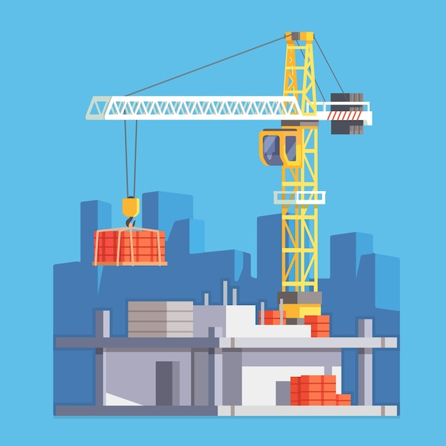 Construction of building house or a skyscraper Free Vector