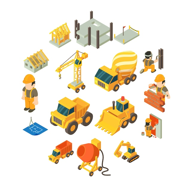 Construction building icons set, isometric style Premium Vector