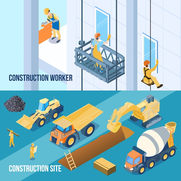 Construction building site and workers banners Free Vector