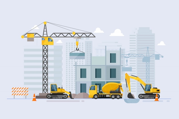 Premium Vector | Under construction building work process