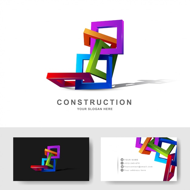 Construction buildings or 3d frame square logo design template Premium Vector