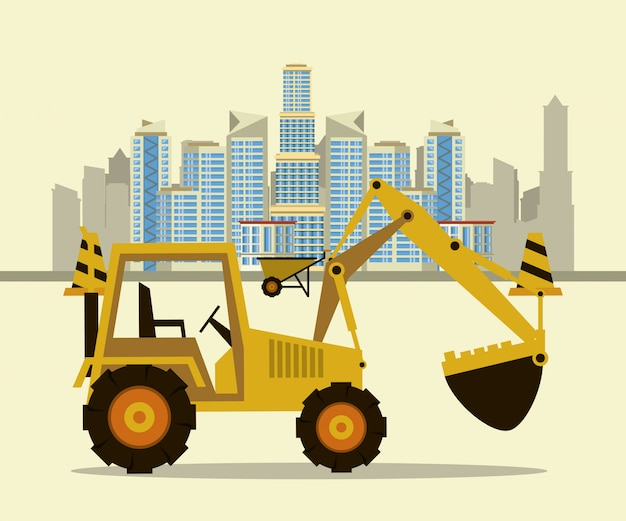 Under construction buildings and machinery Premium Vector