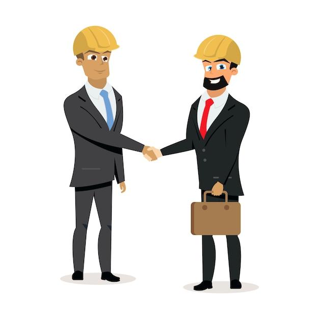 Construction business partners handshake vector Premium Vector