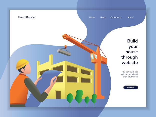 Construction cartoon landing page Premium Vector