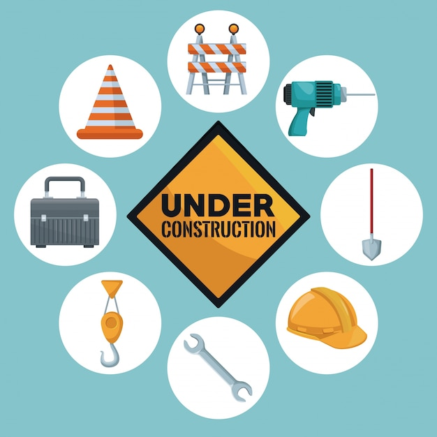 Construction and in center of traffic signal text under construction Premium Vector