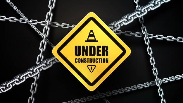Under construction and chain background Premium Vector