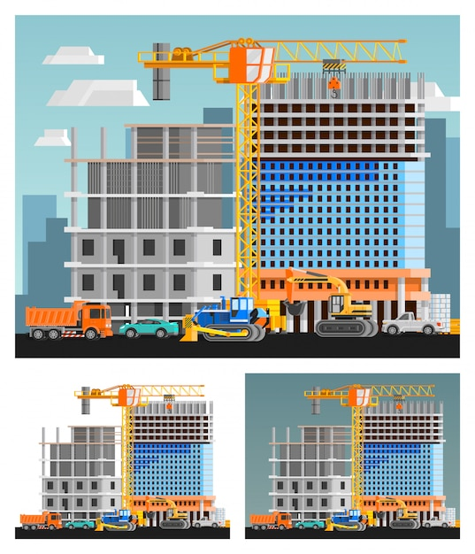 Construction and city compositions set Free Vector