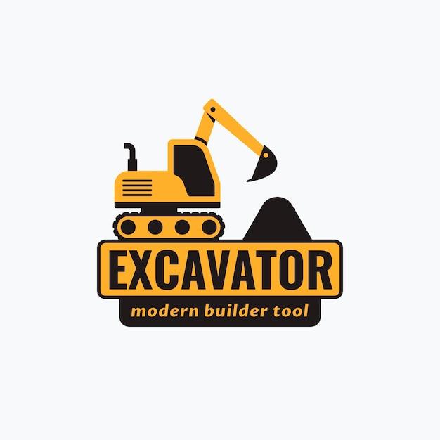 建設会社ショベルのロゴのテンプレート Premiumベクター