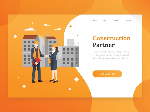 Construction company landing page template Premium Vector